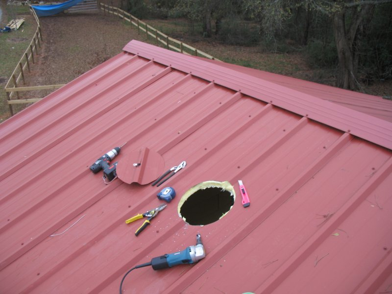 Cutting A Chimney Hole In My Pristine Metal Roof Diy