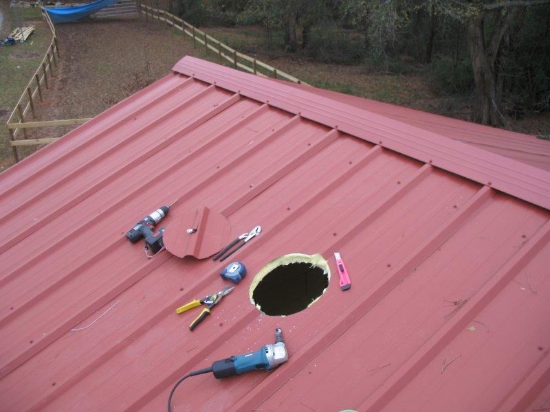 Cutting A Chimney Hole In My Pristine Metal Roof Diy