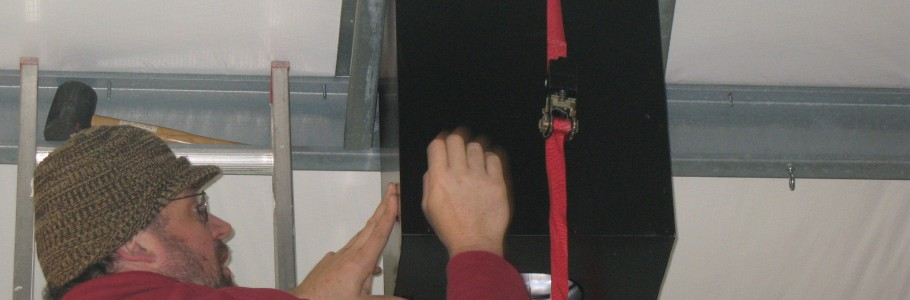 One of two straps added to hold transition box in place